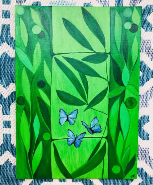 Green Bamboo painting- Original und print