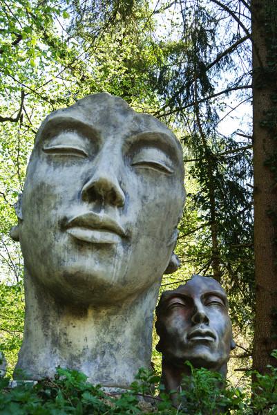 """Gesicht """"Mann"""" - Rosteffekt - Antikstein 52 cm"""