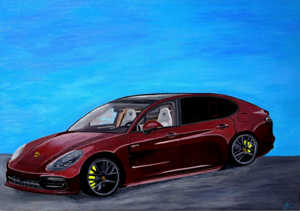 Red Porsche Panamera painting - print on canvas