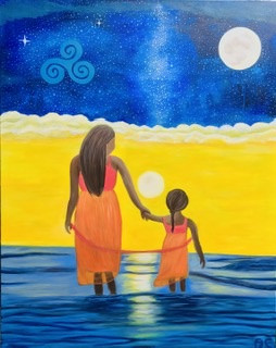 Mother love - original oil painting and print