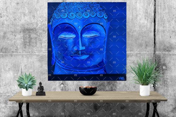 Blue Buddha painting - print