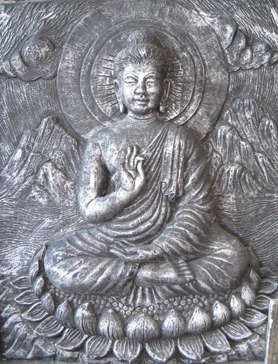 Buddha auf Lotus Relief - 80cm