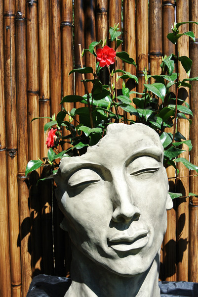 "Gesicht ""Mann"" - Steingrau - Antikstein 52 cm"