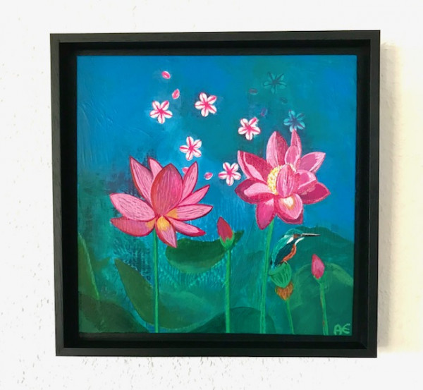 Lotus paradise painting - Original painting in wooden frame