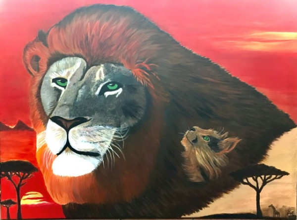 African lion painting - Original