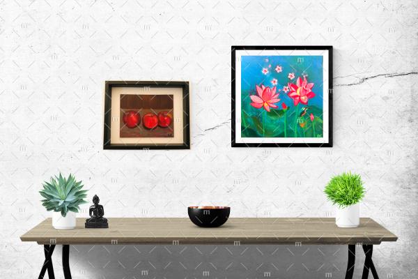 Stillleben Äpfel Painting in wooden frame - Original