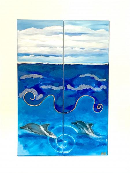 DOLPHIN DREAM - Diptych Original Painting