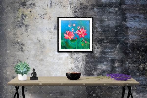 Lotus paradise painting - Original painting in wooden frame