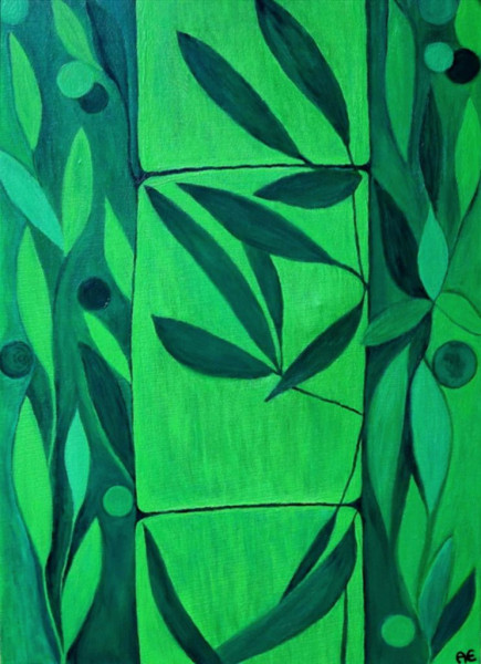 Green Bamboo painting- Original und print