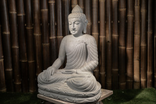Sitzender Buddha aus Riverstone - 80cm