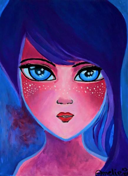 Purple Girl - Painting Print