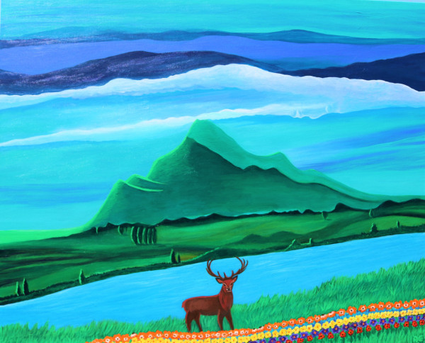 Dreaming deer painting - Original