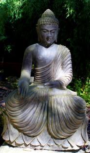 Buddha mit Gewand - Antikfinish 80cm