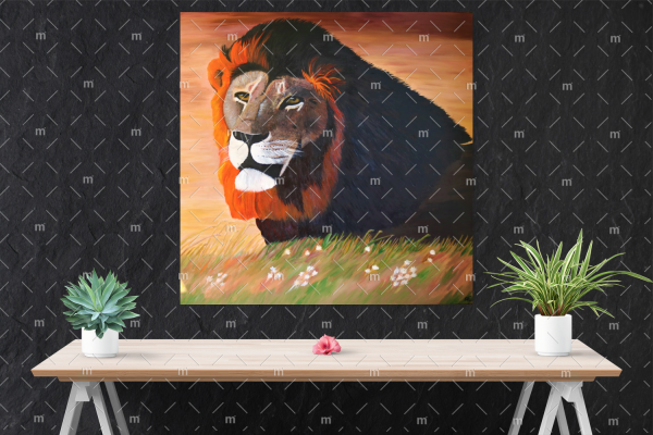 Lion painting - print