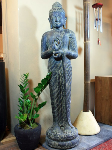 Großer stehender Buddha Rad der Lehre - 158 cm