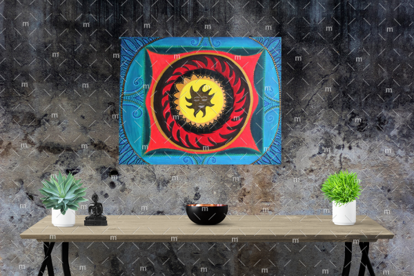 Sun mandala painting - Original