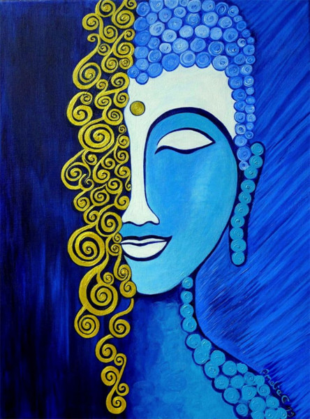 Golden Buddha painting- original and print