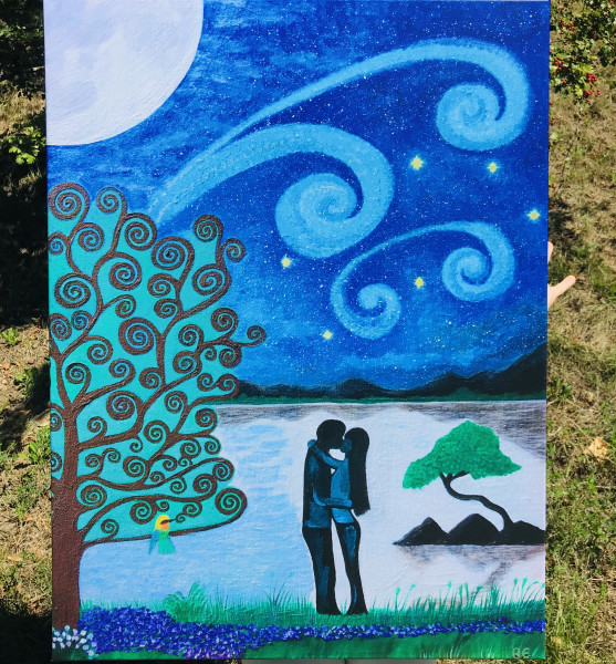 Loving couple painting - print on stretched canvas