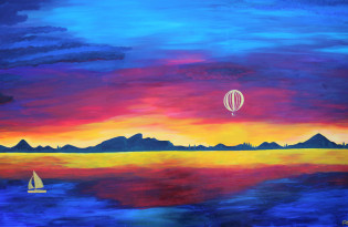 Sunset by the lake painting - Original