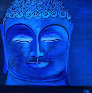 Blue Buddha auf Leinwand - Original