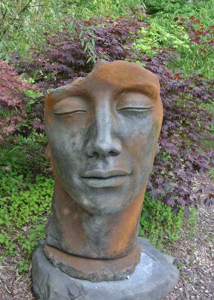Gesicht Mann - Rosteffekt -115cm
