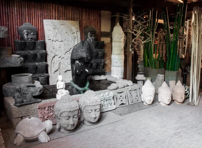 Khmer Kopf als Wasserspiel