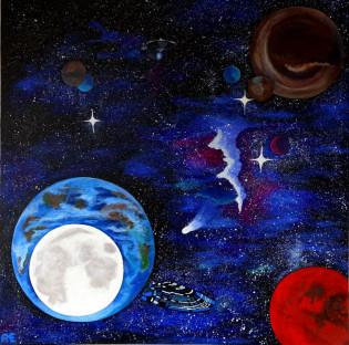 Universe auf Leinwand - Original