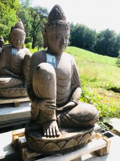 Relaxendes Buddha Paar aus Riverstone 80cm