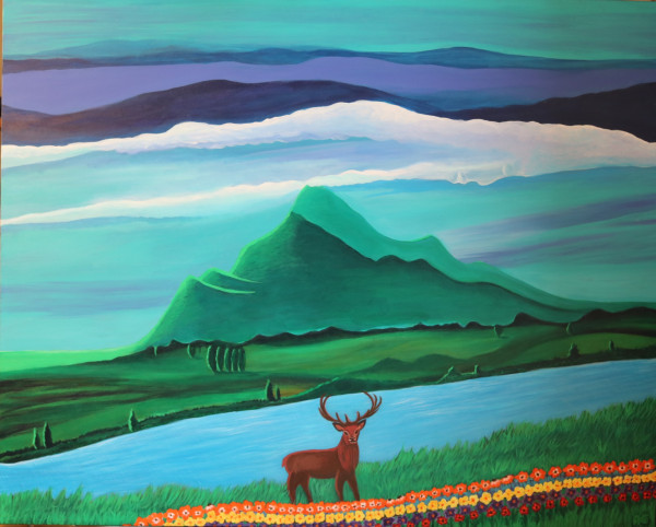 Dreaming deer painting - Original