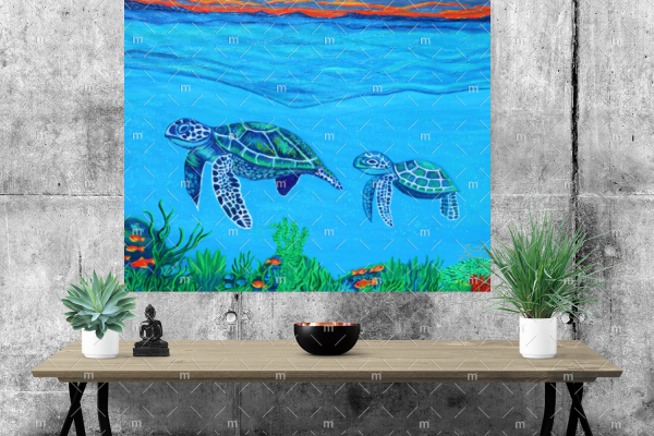 Turtle family painting - print on stretched canvas