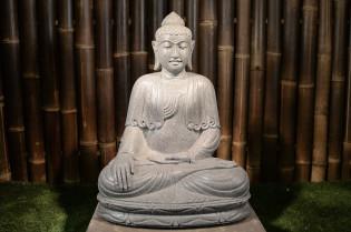 Sitzender Buddha aus Riverstone - ca. 65 cm